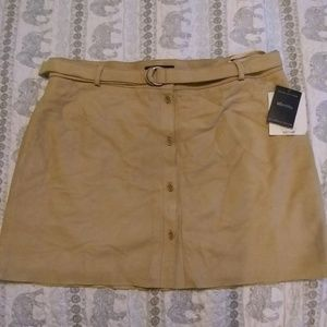 Lord & Taylor suede leather tan button down mini